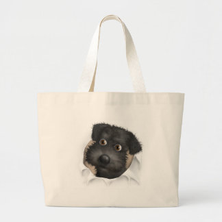Schnoodle (Black) Busting Out Large Tote Bag