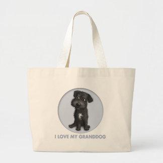 Schnoodle (Black) Granddog Large Tote Bag