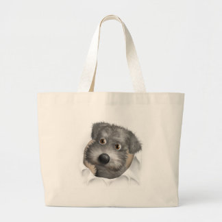 Schnoodle (Gray) Busting Out Large Tote Bag