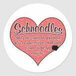 Schnoodle Paw Prints Dog Humor Round Stickers