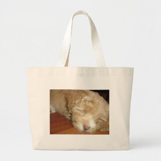 Schnoodle Puppy Sleeping Tote Bags