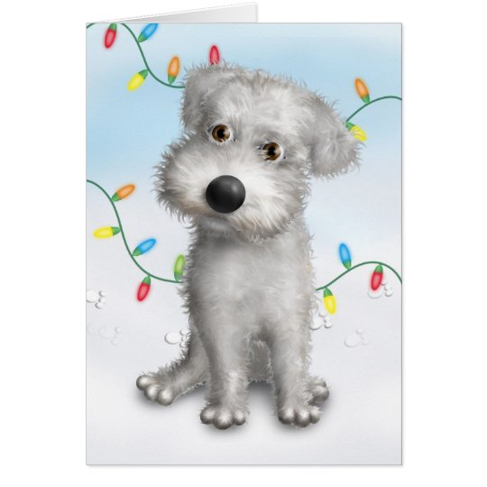 Schnoodle (White) Christmas Card