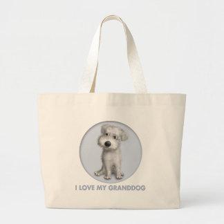 Schnoodle (White) Granddog Large Tote Bag