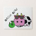 Schnozzle Cow Cash Cow Cartoon w/Money Bag Jigsaw Puzzles