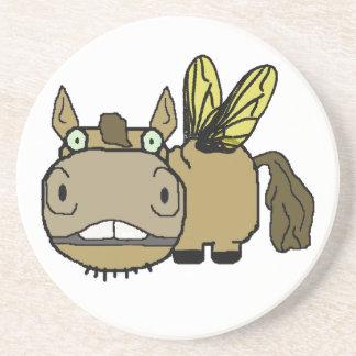 Schnozzle Horse Horsefly Cartoon Coaster