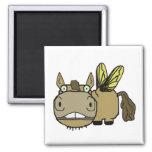 Schnozzle Horse Horsefly Cartoon Fridge Magnets