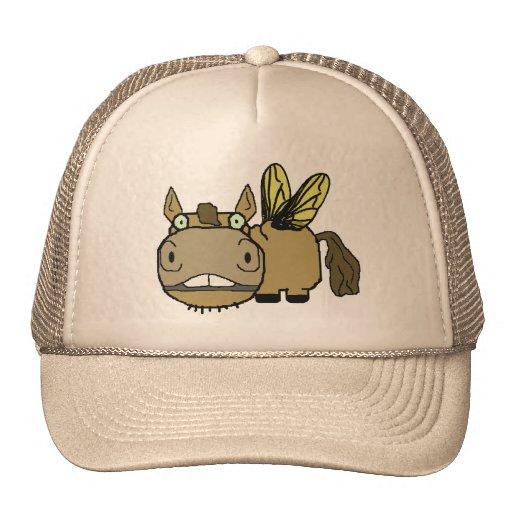 Schnozzle Horse Horsefly Cartoon Mesh Hats