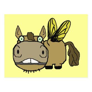 Schnozzle Horse Horsefly Cartoon Postcard