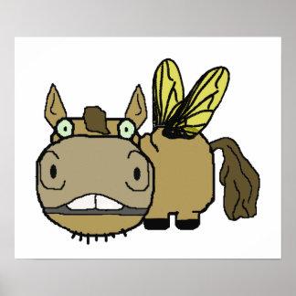 Schnozzle Horse Horsefly Cartoon Poster