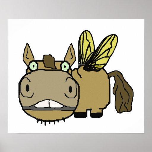 Schnozzle Horse Horsefly Cartoon Print