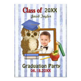 Scholar Owl Blue - Kindergarten Graduation Invitations