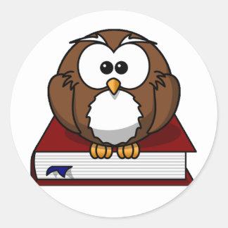 Scholarily Owl Classic Round Sticker