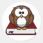 Scholarily Owl Round Stickers