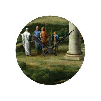 scholars around column round clock