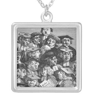 Scholars at a Lecture, 20th January 1736-37 Silver Plated Necklace