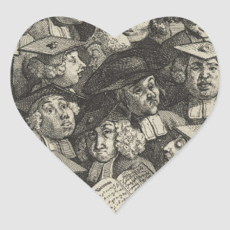 Scholars at a Lecture by William Hogarth Heart Sticker