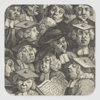 Scholars at a Lecture by William Hogarth Square Sticker