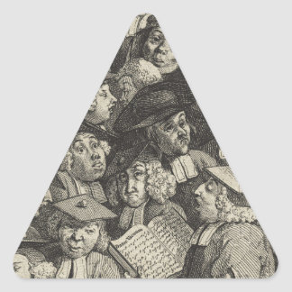 Scholars at a Lecture by William Hogarth Triangle Sticker