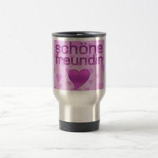 Schöne corazones rosados y púrpuras de Freundin Taza De Viaje