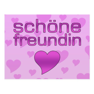 Schöne Freundin Pink & Purple Love Hearts Postcard