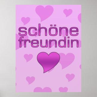 Schöne Freundin Pink & Purple Love Hearts Posters