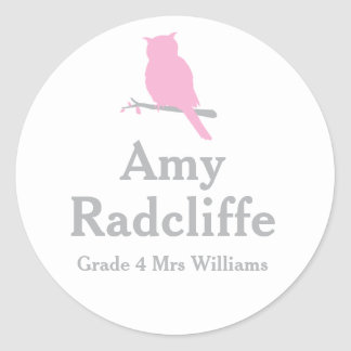 School add your grade & name owl pink id sticker