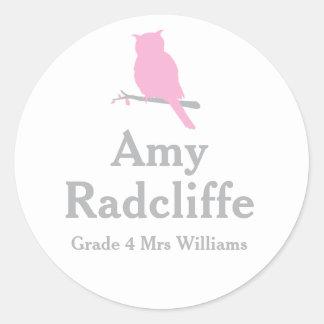 School add your grade & name owl pink id sticker