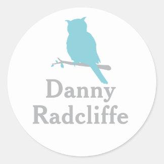 School add your name owl aqua id sticker