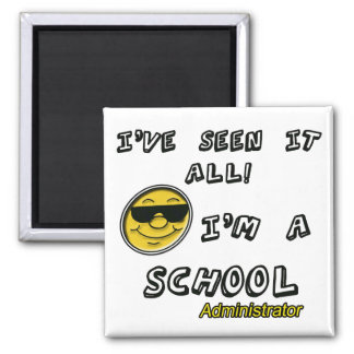 School Administrator 2 Inch Square Magnet