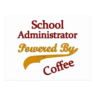 School Administrator Powered By Coffee Postcard