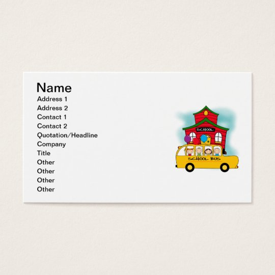 School and School Bus T-shirts and Gifts Business Card