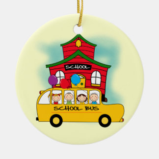 School and School Bus T-shirts and Gifts Double-Sided Ceramic Round Christmas Ornament