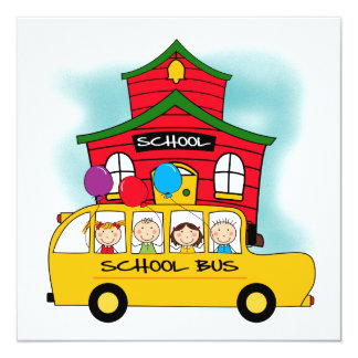 School and School Bus T-shirts and Gifts 5.25x5.25 Square Paper Invitation Card