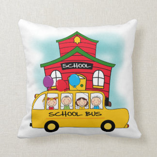 School and School Bus T-shirts and Gifts Throw Pillow