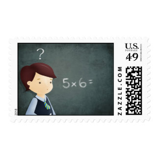 School and the maths class postage stamp