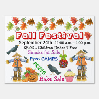 School / Anywhere Fall Festival Yard Sign