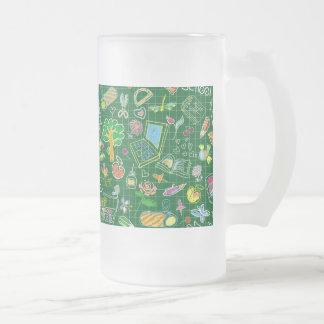 School Art Supplies on Green 16 Oz Frosted Glass Beer Mug