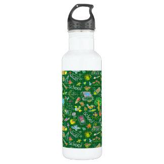 School Art Supplies on Green Water Bottle