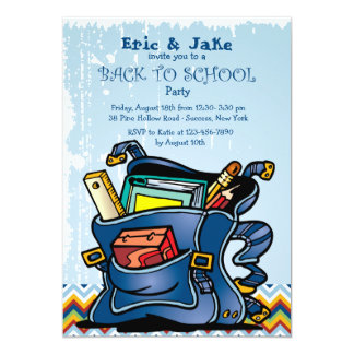 "School Backpack Invitation 5"" X 7"" Invitation Card"