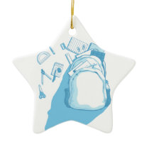 School Bag with School Supplies Scattered Around Ceramic Ornament