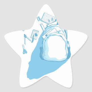 School Bag with School Supplies Scattered Around Star Sticker