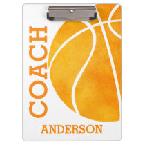 School Basketball Coach Personalized Retro Trendy Clipboard