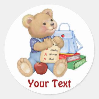 School Bear - First Grade Classic Round Sticker