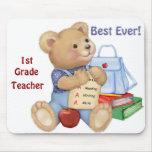School Bear - First Grade Mouse Pad
