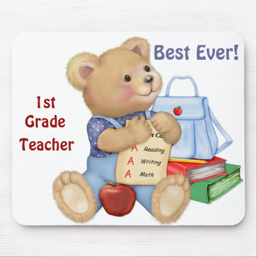 School Bear - First Grade Mouse Pad