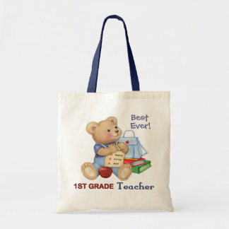 School Bear - First Grade Teacher Tote Bag