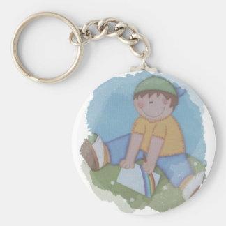 school boy basic round button keychain
