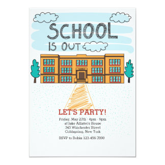 School Building End Of School Year Invitation