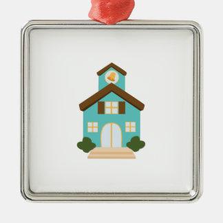 School Building Silver-Colored Square Ornament