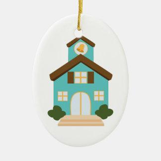 School Building Ceramic Oval Ornament